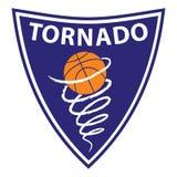 Basketballtornado auf violettem Hintergrund Stockfotografie