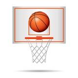 Basketbalmand, hoepel, bal op witte achtergrond wordt geïsoleerd die royalty-vrije illustratie