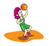 Basketbalmeisje het spelen beeldverhaal royalty-vrije illustratie