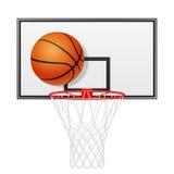 Basketbalrugplank en bal Geïsoleerd op wit Royalty-vrije Stock Afbeeldingen