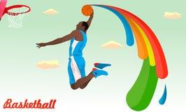 Basketbalspeler die aan de ring springen Stock Afbeelding