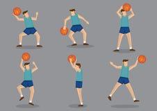 Basketbalspeler met, en Basketbal die schieten werpen springen royalty-vrije illustratie