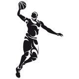 Basketbalspeler, silhouet royalty-vrije illustratie