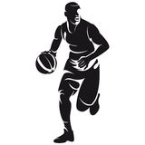 Basketbalspeler, silhouet Stock Foto
