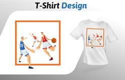 Basketbalspelers in vierkant, de druk van de sportevenementt-shirt Spot op het malplaatje van het t-shirtontwerp Vector geïsoleer Royalty-vrije Stock Foto