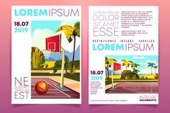 Basketbaltoernooien op toevlucht vectorbrochure stock illustratie