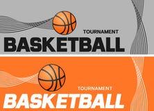 Basketbalvlieger of het ontwerp van de Webbanner met balpictogram royalty-vrije illustratie