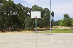 Basketbeslag med den vita målbrädan och domstolen Arkivfoton