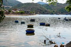 The basketboats of fishermen. In Vietnam, poor fishermen use basketboats to catch fish Royalty Free Stock Photography