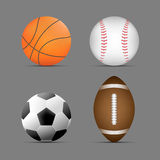 Basketboll, fotboll-/fotbollboll, boll för rugby/för amerikansk fotboll, baseballboll med grå bakgrund bollar ställde in sportar Royaltyfri Bild