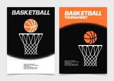 Basketbroschyr eller rengöringsdukbanerdesign med boll- och beslagsymbolen Arkivbild