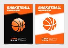 Basketbroschyr eller rengöringsdukbanerdesign med bollsymbolen Arkivbild