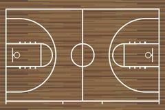 Basketdomstol med det wood brädet för parkett vektor Royaltyfri Foto