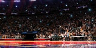Basketdomstol med folkfanen stadion för arenaregnsport Photoreal 3d framför bakgrund blured i det distancelike långa skottet luta Royaltyfri Bild