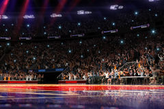 Basketdomstol med folkfanen stadion för arenaregnsport Photoreal 3d framför bakgrund blured i det distancelike långa skottet luta stock illustrationer