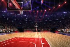 Basketdomstol med folkfanen stadion för arenaregnsport Photoreal 3d framför bakgrund blured i det distancelike långa skottet luta vektor illustrationer