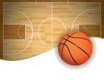Basketdomstol och bollbakgrund Fotografering för Bildbyråer