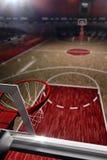 basketdomstol om illustration stadion för arenaregnsport 3d framför bakgrund stock illustrationer