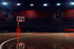 basketdomstol om illustration stadion för arenaregnsport Arkivbild