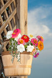 Basketful of bright flowers Stock Photo