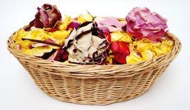 Basketful de las rosas del pétalo Fotos de archivo libres de regalías