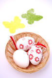 Basketful of easter eggs Stock Photo