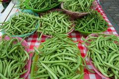 Basketfuls of Stringbeans at Farmer's Market Royalty Free Stock Photos