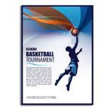 Basketillustration spelare begrepp isolerad sportwhite Affisch reklambladmall Arkivfoton