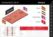 Basketkopp 2019 isometrisk domstol 3D Ställ in av nationsflaggagrupp C vektor illustrationer