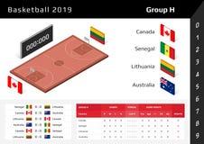 Basketkopp 2019 isometrisk domstol 3D Ställ in av nationsflaggagruppH vektor illustrationer