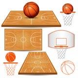Basketkorg, beslag, boll, fält som isoleras på vit bakgrund Royaltyfri Fotografi