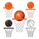 Basketkorg, beslag, boll på vit bakgrund Arkivbilder