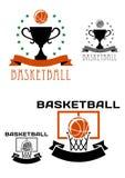 Basketlogo med bollar, korg, trofé Arkivbild