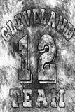 Basketlogoillustration av Cleveland, 12 Handskrivet baner, logo eller etikett Färgrik hand dragit uttryck Malldräkt Royaltyfria Bilder