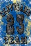 Basketlogoillustration av Cleveland, 23 Handskrivet baner, logo eller etikett Färgrik hand dragit uttryck Malldräkt Royaltyfria Foton