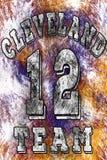 Basketlogoillustration av Cleveland, 12 Handskrivet baner, logo eller etikett Färgrik hand dragit uttryck Malldräkt Arkivfoto
