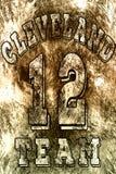 Basketlogoillustration av Cleveland, 12 Handskrivet baner, logo eller etikett Färgrik hand dragit uttryck Malldräkt, ca Arkivbild
