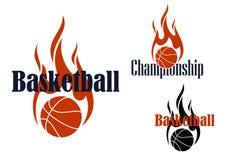 Basketmatchsymboler med att flamma bollar stock illustrationer