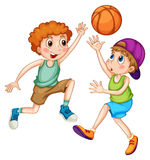 basketpojkar som leker två vektor illustrationer