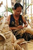 Basketry. Basket weaving also basketry or basket making is the process of weaving or sewing pliable materials into two- or threedimensional artefacts, such as stock photos