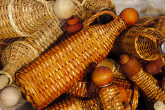 Basketry bottles Stock Photo