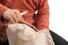 basketry La foto dell'artigiano tiene il withy, primo piano fotografia stock libera da diritti