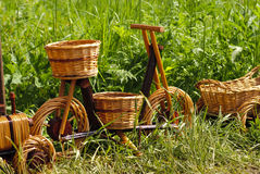 Basketry on nature. Basketry market on nature. Green field background. Decorative flowerpot stock image