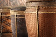 Basketry of Old. Various shapes and sizes of regional craftsmanship in basketry royalty free stock image