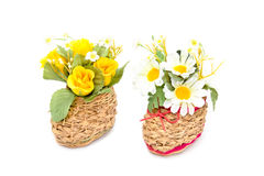 Basketry Shoes with  Artificial chrysanthemum,Rose flower Stock Image