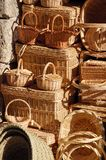 Baskets 1. Wicker baskets exposed for sale in Segovia, Spain Royalty Free Stock Images