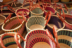 Baskets. Various baskets on a market Royalty Free Stock Photography