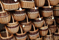 Baskets. Handmade traditional wicker baskets at the  fair show Royalty Free Stock Photos