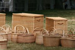 Baskets. Wicker baskets in a row Stock Image