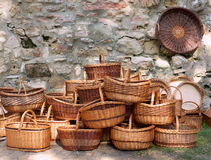 Baskets. Wicker baskets at the market Royalty Free Stock Image